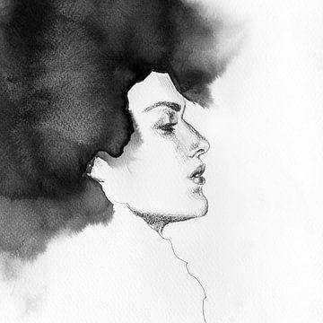 Tintenfluss Gesicht von Olga Tromp