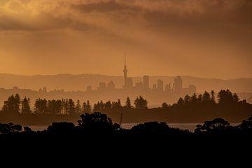 Morgendämmerung über Auckland, Neuseeland von Michaelangelo Pix