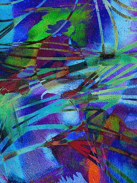 Modern, Abstract Digitaal Kunstwerk in Blauw, Rood, Groen, Paars van Art By Dominic