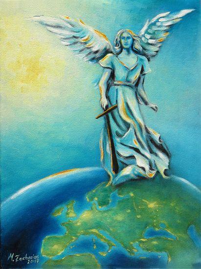 Aartsengel Michael - Hand Painted Angel Art van Marita Zacharias
