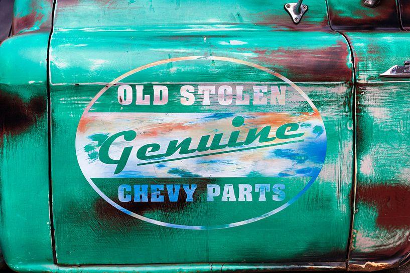 Autodeur Chevrolet met opdruk Old stolen genuine Chevy parts van Evert Jan Luchies