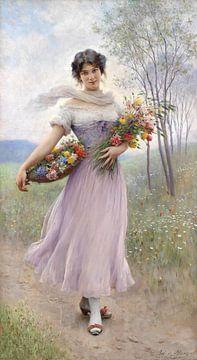 Eugen de Blaas, Meisje in lila jurk - 1911 van Atelier Liesjes
