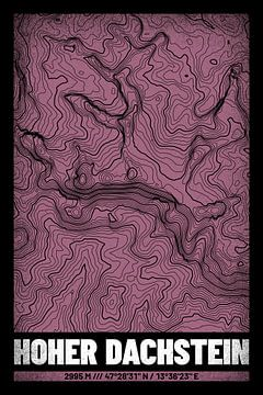 Hoher Dachstein | Topographie de la carte (Grunge) sur ViaMapia