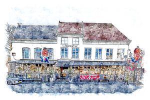 Das Teerzimmer in Bergen op Zoom (Aquarell)