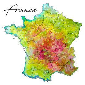 France | Carte colorée avec des noms de province sur - Wereldkaarten.shop -