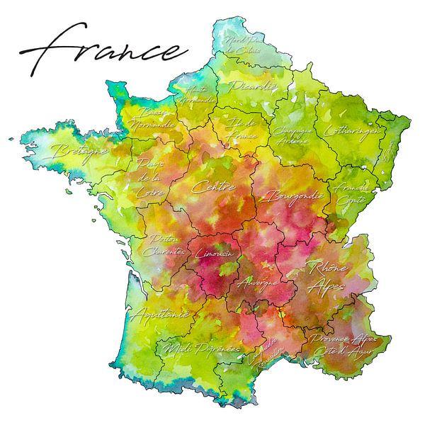 Frankreich   Bunte Karte mit Provinznamen von Wereldkaarten.Shop