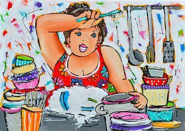 Vrolijk- dikke dame aan de afwas van Vrolijk Schilderij