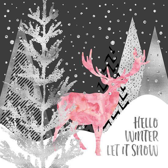 GRAFISCHE KUNST, ZILVER Hallo winter laat het sneeuwen van Melanie Viola