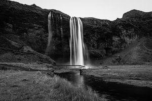 Seljalandsfoss zwart-wit