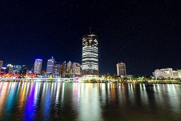 De skyline van Brisbane met sterren van hugo veldmeijer
