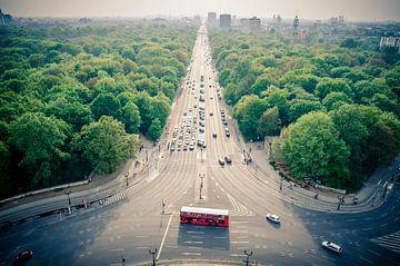 Uitzicht over de Tiergarten vanaf de Siegessaule in Berlijn van Sven Wildschut
