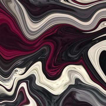Abstrakte Kunst - Fluid Painting Grau Weiß Rot von Patricia Piotrak