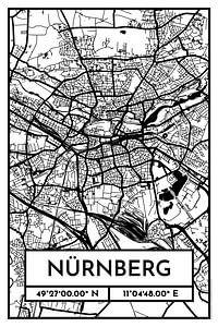 Nürnberg – City Map Design Stadtplan Karte (Retro)