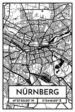 Nürnberg – City Map Design Stadtplan Karte (Retro) von ViaMapia