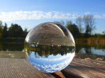 The last rays of the sun, glass ball photography van