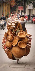 Hanoi, Vietnam, straatverkoper op fiets