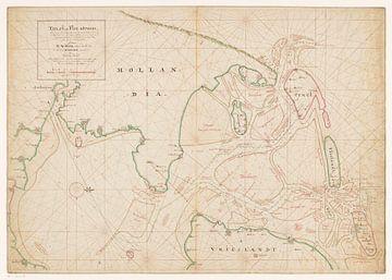 Karte von Nordholland, Texel, Vlieland, Terschelling, einem Teil von Friesland und den umliegenden S
