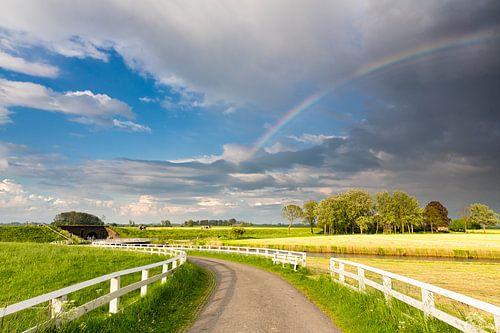 Een regenboog boven het landschap bij Aduarderzijl in Groningen
