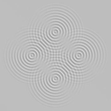 Vier golven 2 grijs van Jörg Hausmann