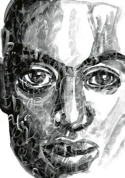 Portrait en noir et blanc sur Eva van den Hamsvoort
