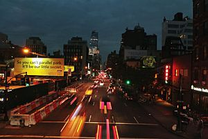 NY lighttrails van