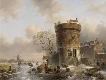 Winterlandschap met figuren op een bevroren rivier bij een toren, Charles Leickert sur