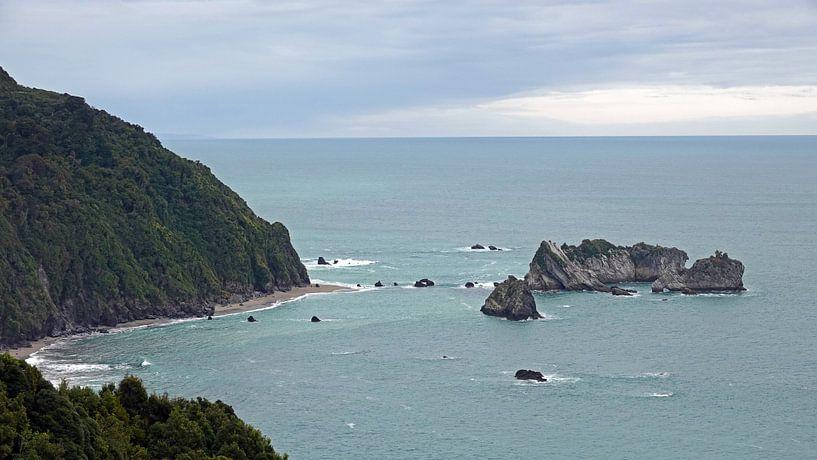 Knights point rotsen in de Tasmanzee, Nieuw Zeeland van Aagje de Jong
