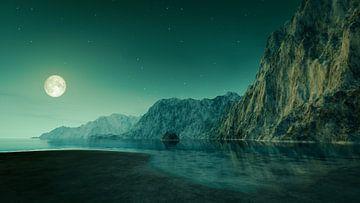 La pleine lune sur la mer sur Markus Gann