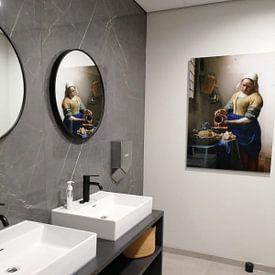 Kundenfoto: Dienstmagd mit Milchkrug - Vermeer gemälde von Schilderijen Nu, auf acrylglas