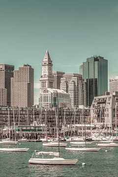 BOSTON Skyline North End & Financial District   style vintage urbain sur Melanie Viola