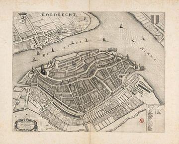 Oude kaart van Dordrecht van omstreeks 1652 van Gert Hilbink
