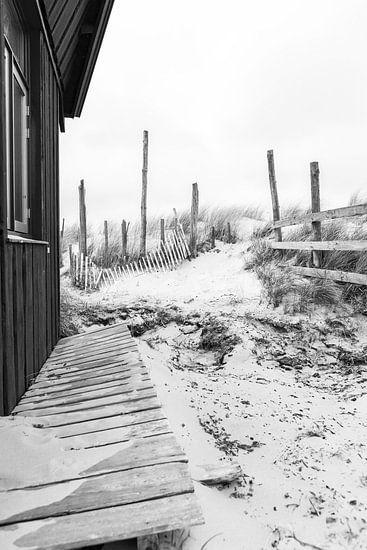 Verlaten Strandhut op Texel van Wesley Flaman