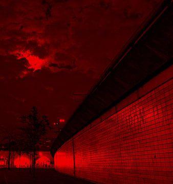 Rotterdam, de Hofbogen met avond lucht van Marco Versloot
