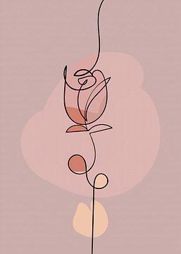 Line-art. Pretty rose van Rudy en Gisela Schlechter