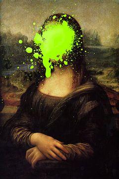 Mona Lisa mit grünem Farbfleck von Maarten Knops