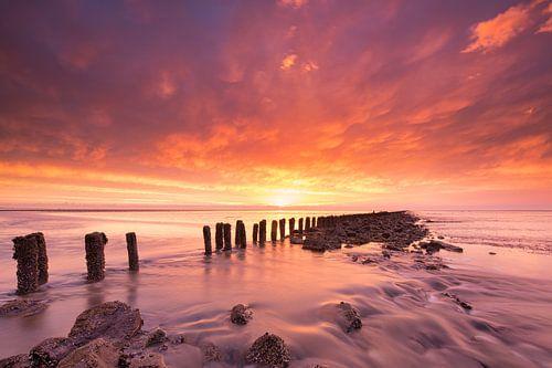Zonsondergang boven de Waddenzee bij eb