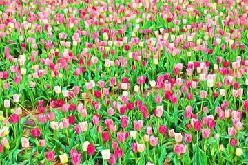 schilderachtig beeld met tulpen in bloei van eric van der eijk
