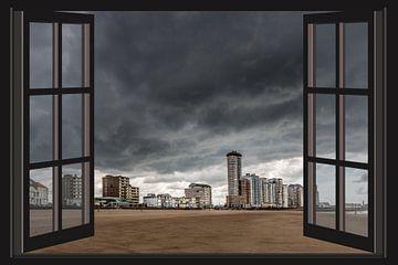 Donkere wolken boven Vlissingen (Zeeland) vanuit het raam
