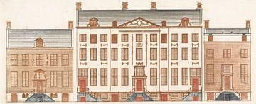 Amsterdamse grachtenhuizen aan de Herengracht, Cornelis Danckerts (II), 1696-1706 van Atelier Liesjes