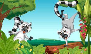 Wilde lemurs in de jungle