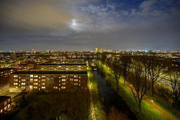 Panorama op Amsterdam van Peter Bartelings Photography