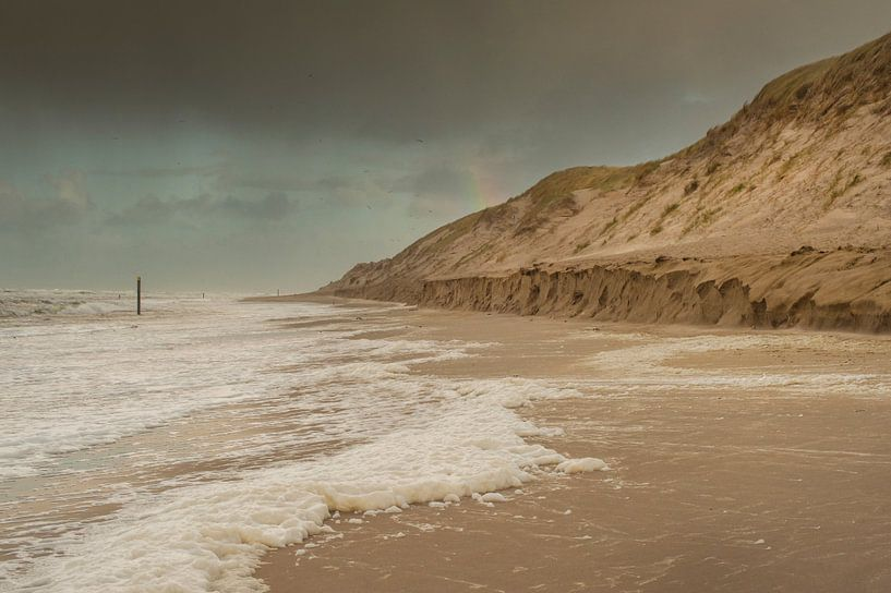 Zee, stand en duinen bij Paal 9 Texel van Margreet Frowijn