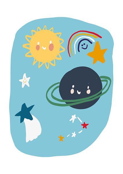 Planeten Illustration Kinderzimmer von Jolijn Ceelen