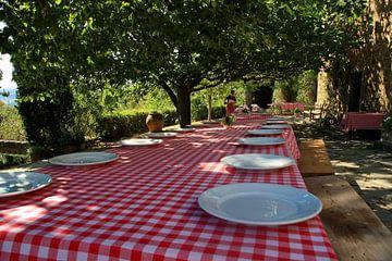 Gedekte tafel op Toscaanse fattoria onder de Citrusbomen. van Jan Piet Hartman