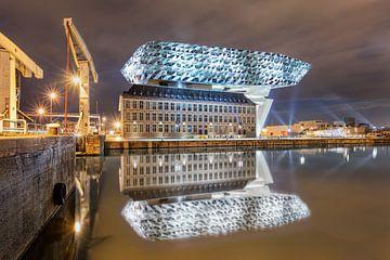 Port lumineux Anvers Maison nuit reflète dans un canal sur Tony Vingerhoets