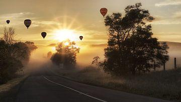 luchtballonnen boven een heiig landschap van Atelier Liesjes