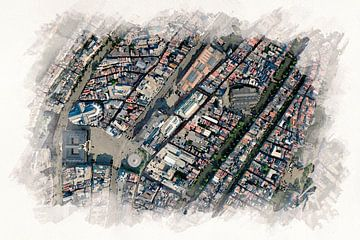 Kaart van de Nieuwmarkt Buurt Amsterdam Aquarel van Aquarel Creative Design