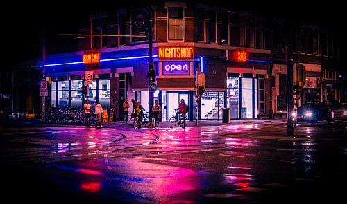 Rotterdam Neon Light Nightshop by night van