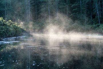 Kleurige waternevel in de ochtend von Dennis Weggelaar