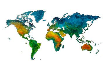 Carte du monde des enfants colorés à l'aquarelle sur - Wereldkaarten.shop -